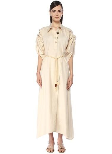 Nanushka Nanushka Hanna  Kol Detaylı Maksi Poplin Elbise 101534250 Ekru